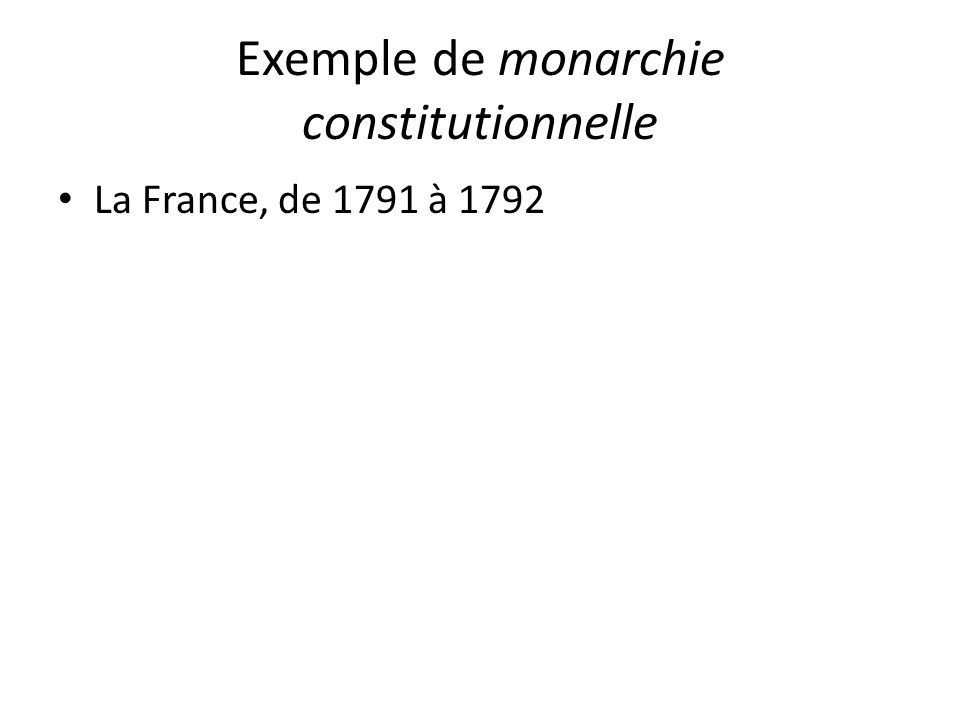 Exemple de monarchie constitutionnelle