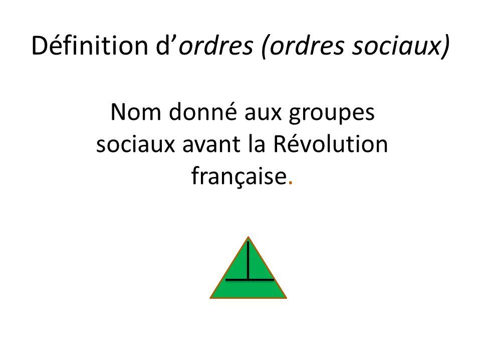 Définition d'ordres (ordres sociaux)