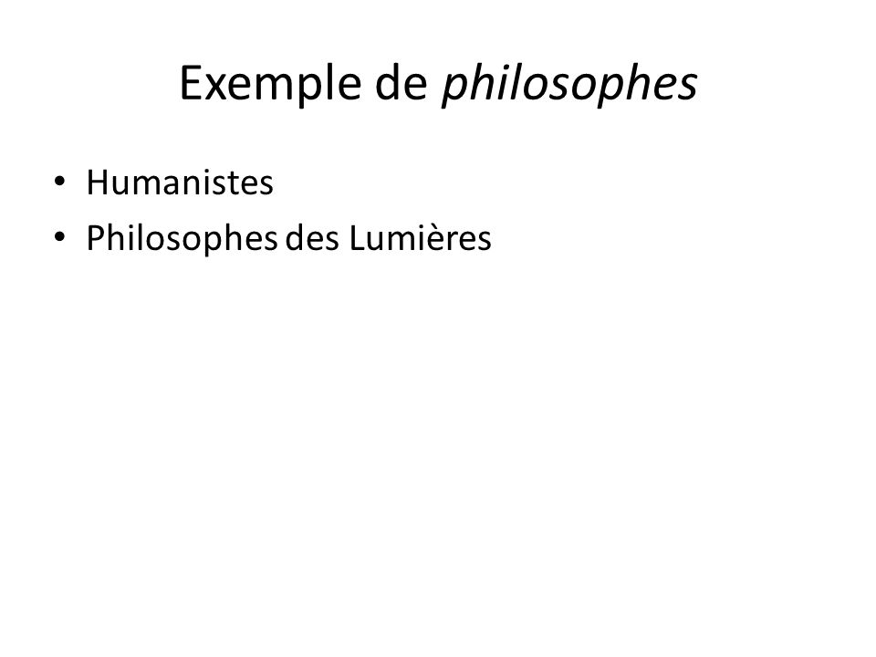 Exemple de philosophes