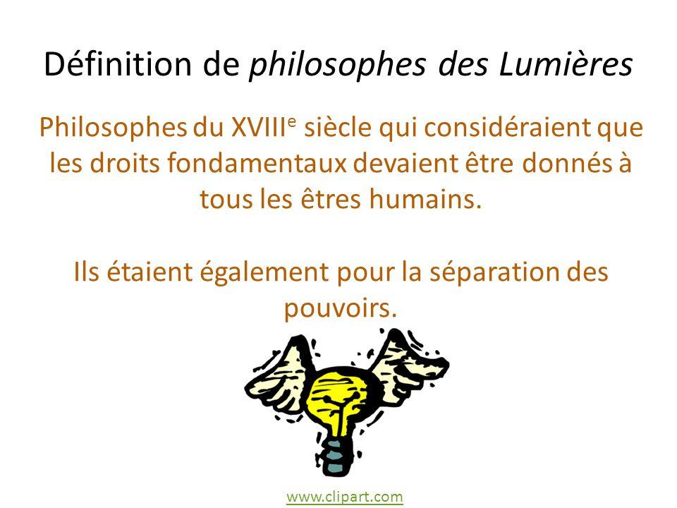 Définition de philosophes des Lumières