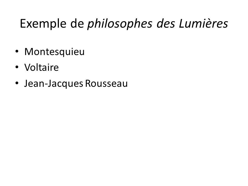 Exemple de philosophes des Lumières