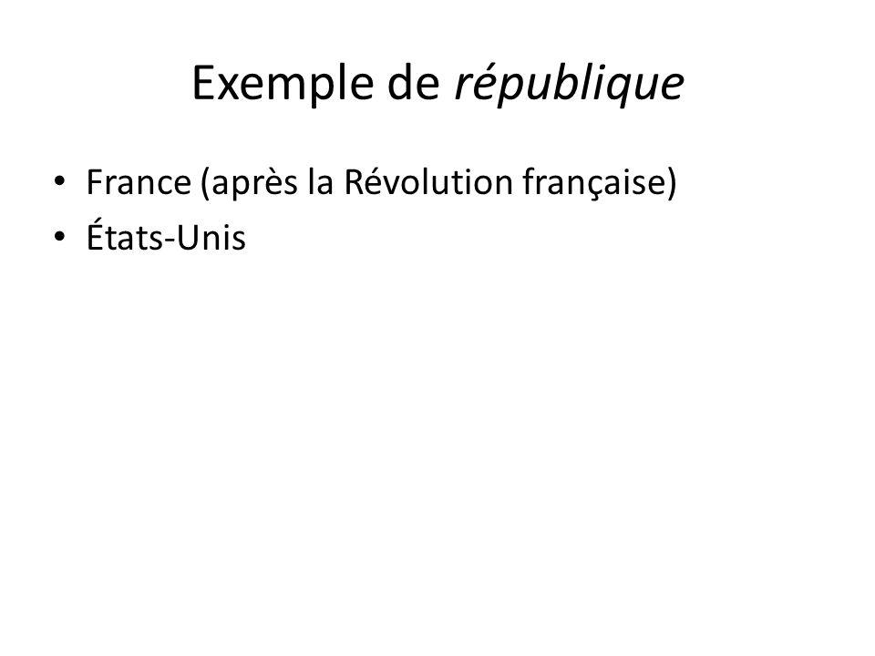 Exemple de république France (après la Révolution française)
