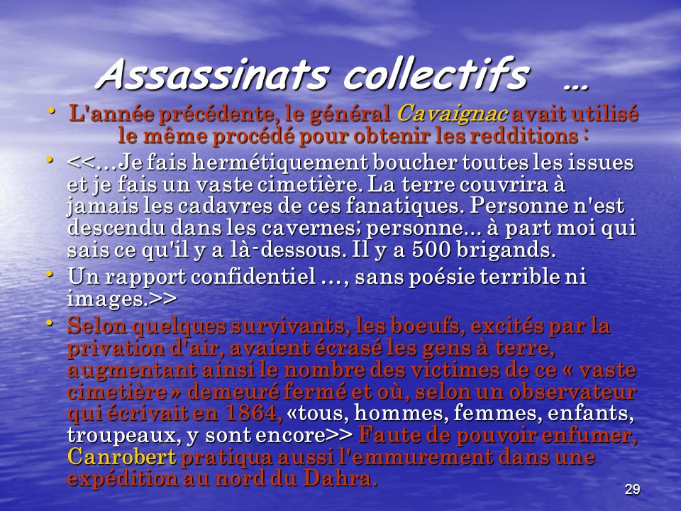 Assassinats collectifs …