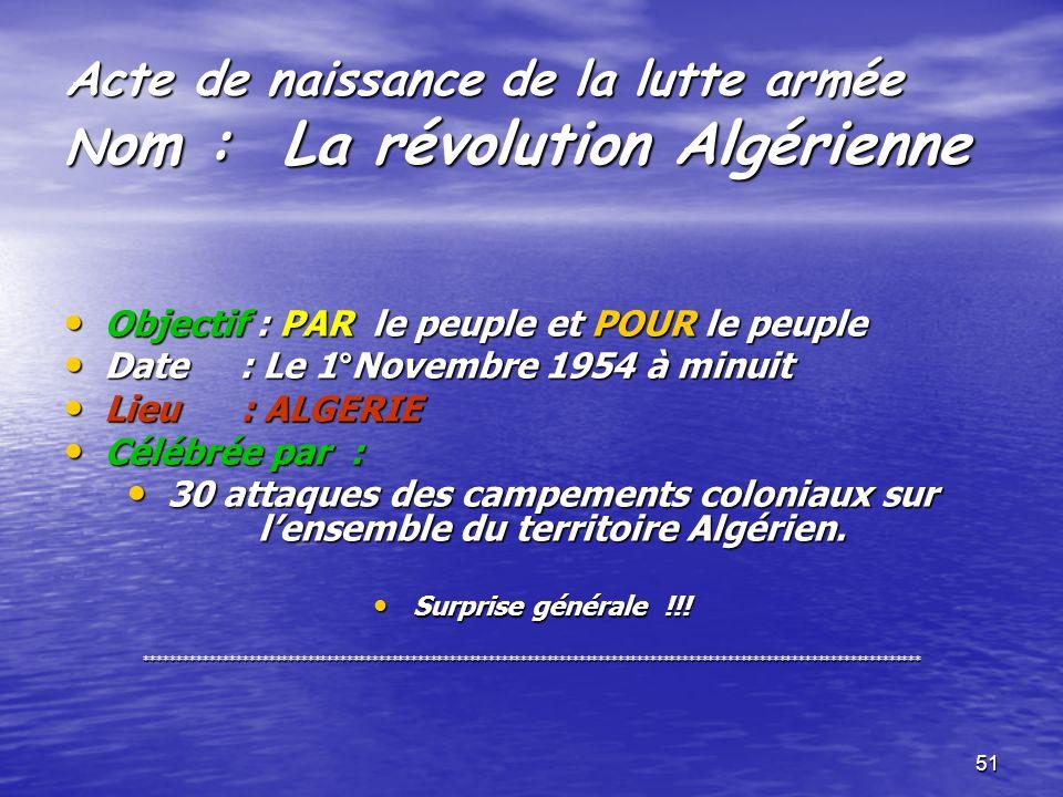 Acte de naissance de la lutte armée Nom : La révolution Algérienne