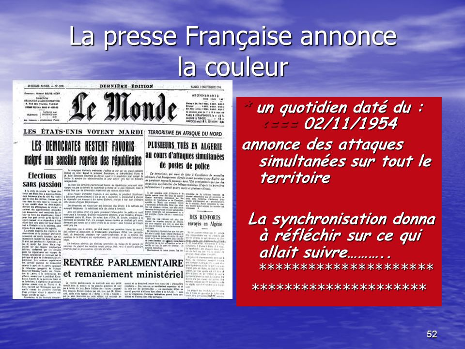 La presse Française annonce la couleur