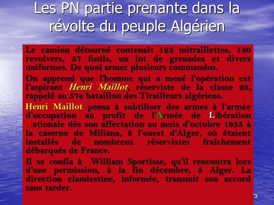 Les PN partie prenante dans la révolte du peuple Algérien