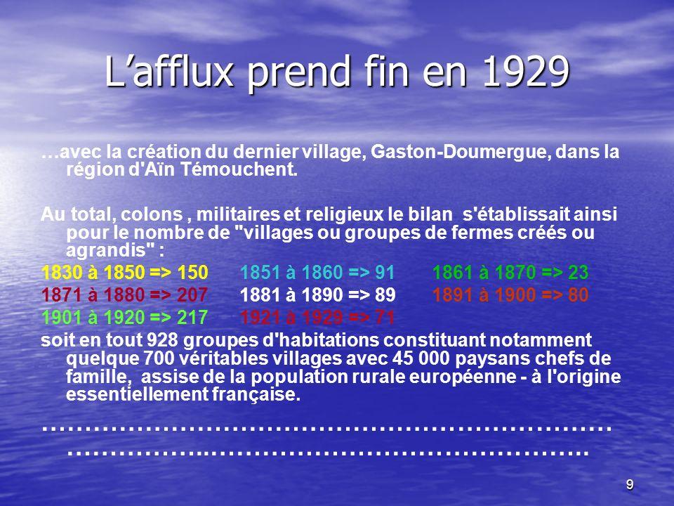 L'afflux prend fin en 1929 …avec la création du dernier village, Gaston-Doumergue, dans la région d Aïn Témouchent.