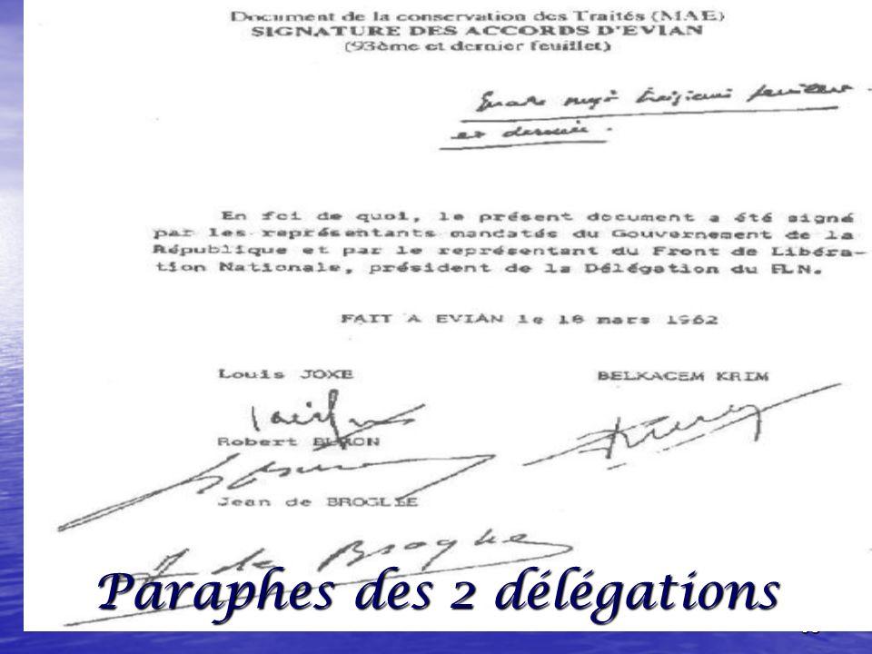 Paraphes des 2 délégations