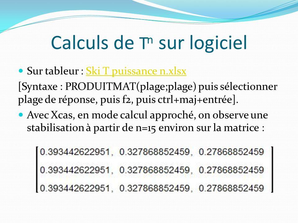 Calculs de Tn sur logiciel