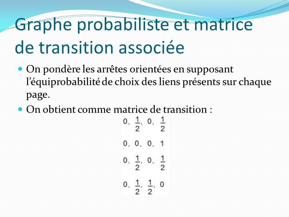 Graphe probabiliste et matrice de transition associée