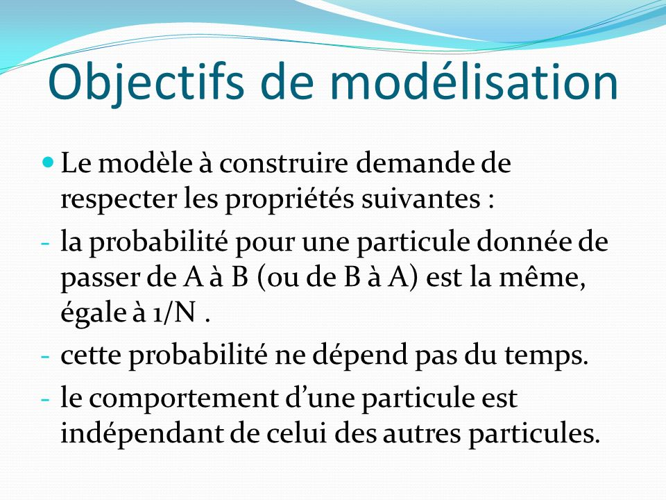Objectifs de modélisation