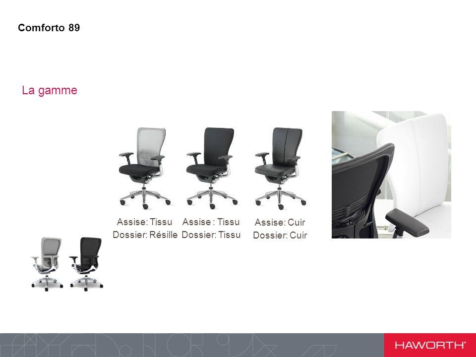 La gamme Comforto 89 Assise: Tissu Dossier: Résille Assise : Tissu