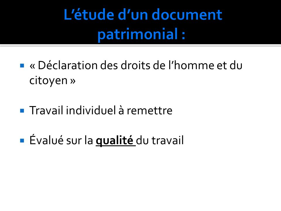L'étude d'un document patrimonial :