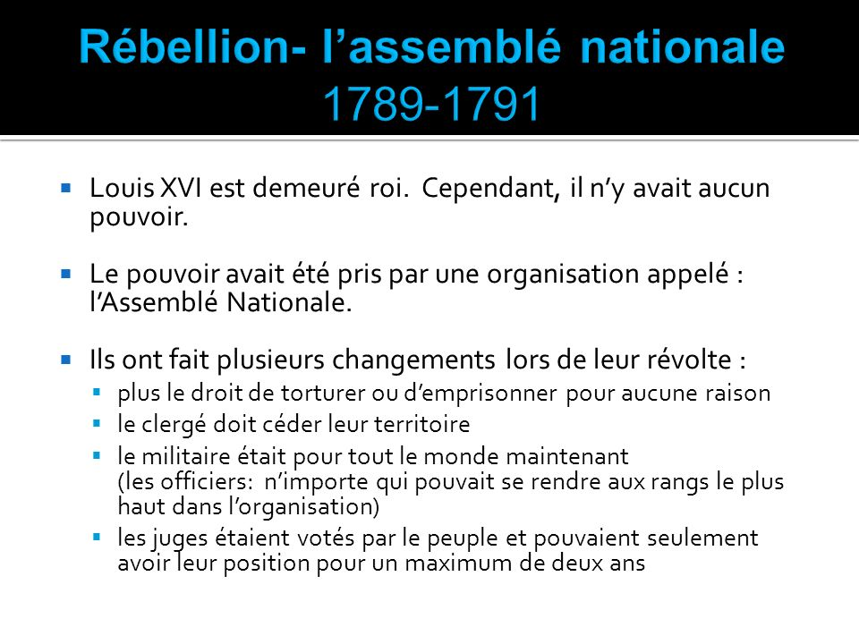 Rébellion- l'assemblé nationale