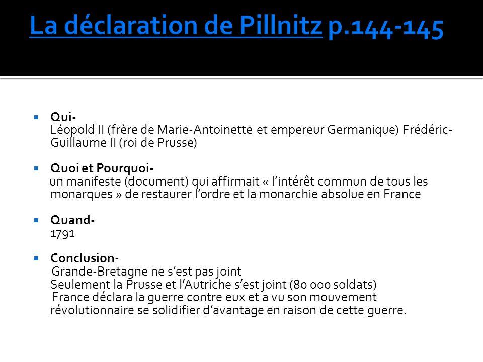 La déclaration de Pillnitz p.144-145