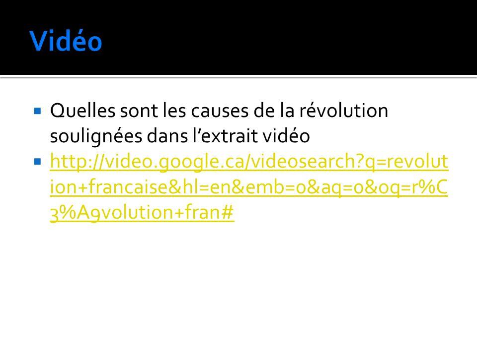 Vidé0 Quelles sont les causes de la révolution soulignées dans l'extrait vidéo.