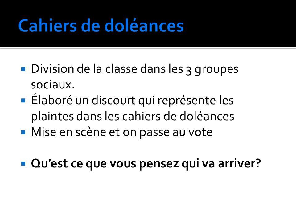 Cahiers de doléances Division de la classe dans les 3 groupes sociaux.