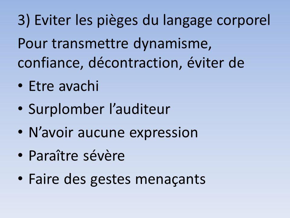 3) Eviter les pièges du langage corporel