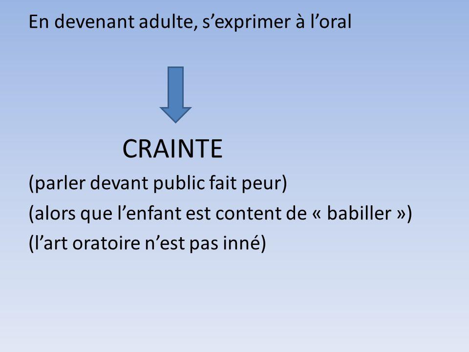 En devenant adulte, s'exprimer à l'oral CRAINTE (parler devant public fait peur) (alors que l'enfant est content de « babiller ») (l'art oratoire n'est pas inné)