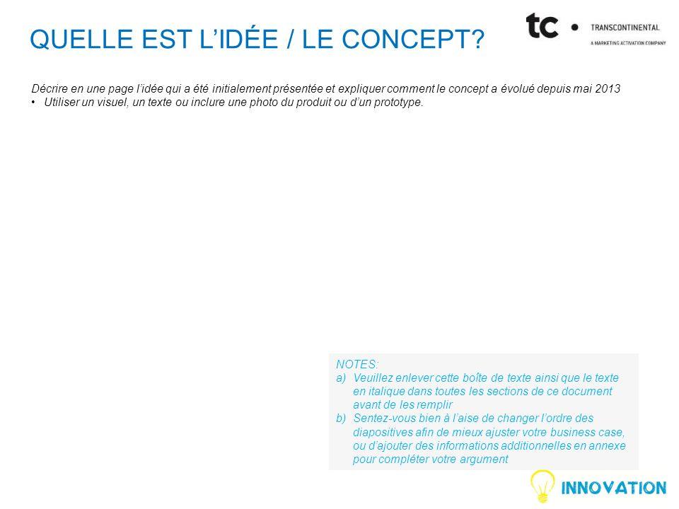 QUELLE EST L'IDÉE / LE Concept