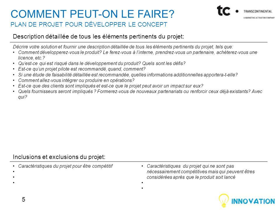 COMMENT PEUT-ON LE FAIRE PLAN DE PROJET POUR DÉVELOPPER LE CONCEPT