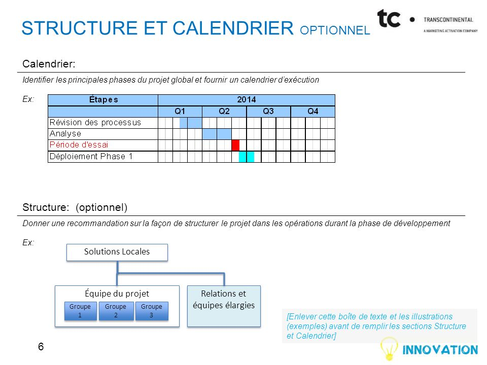 Structure et CALENDRIER OPTIONNEL