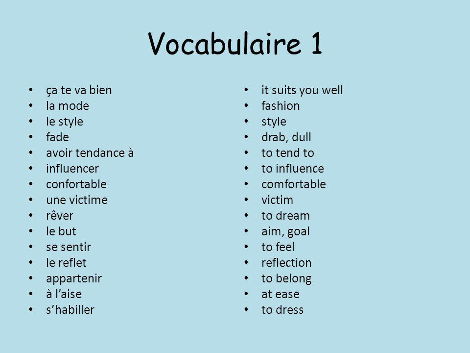 Vocabulaire 1 ça te va bien la mode le style fade avoir tendance à
