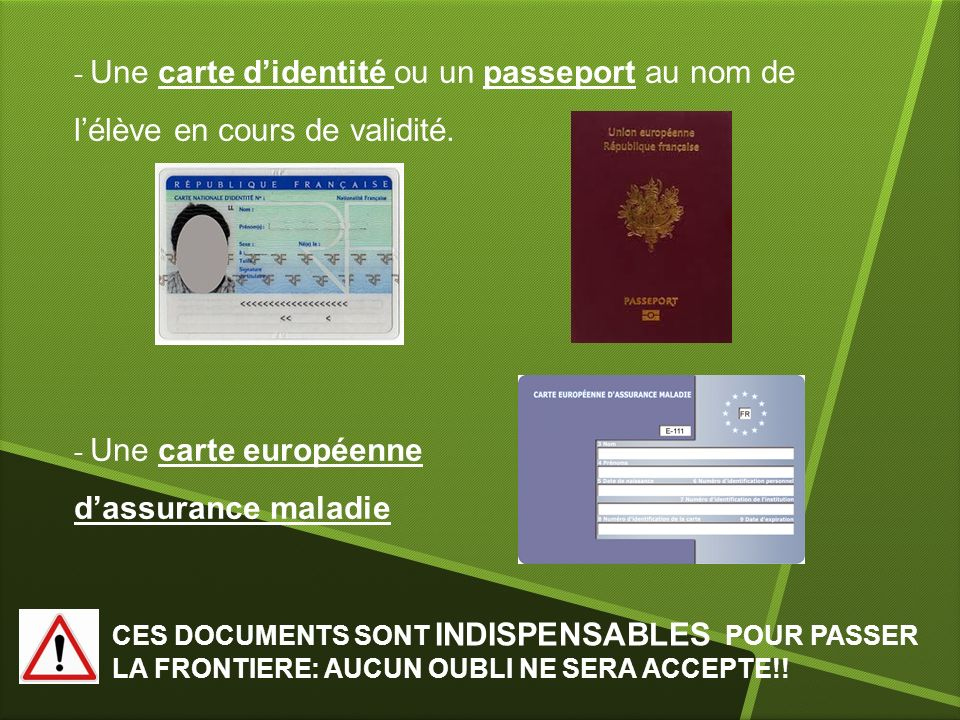 Une carte d'identité ou un passeport au nom de l'élève en cours de validité.