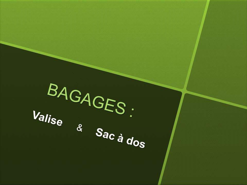 BAGAGES : Valise & Sac à dos