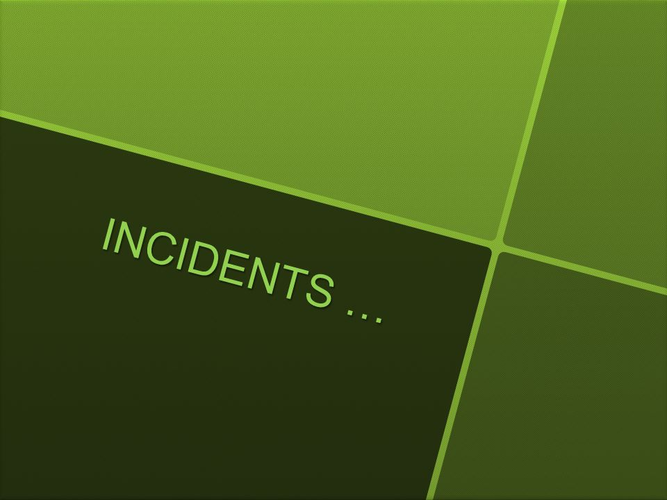 INCIDENTS …
