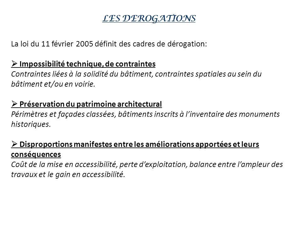 LES DEROGATIONS La loi du 11 février 2005 définit des cadres de dérogation:  Impossibilité technique, de contraintes.