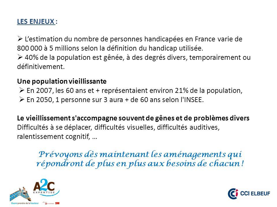 LES ENJEUX :  L'estimation du nombre de personnes handicapées en France varie de. 800 000 à 5 millions selon la définition du handicap utilisée.