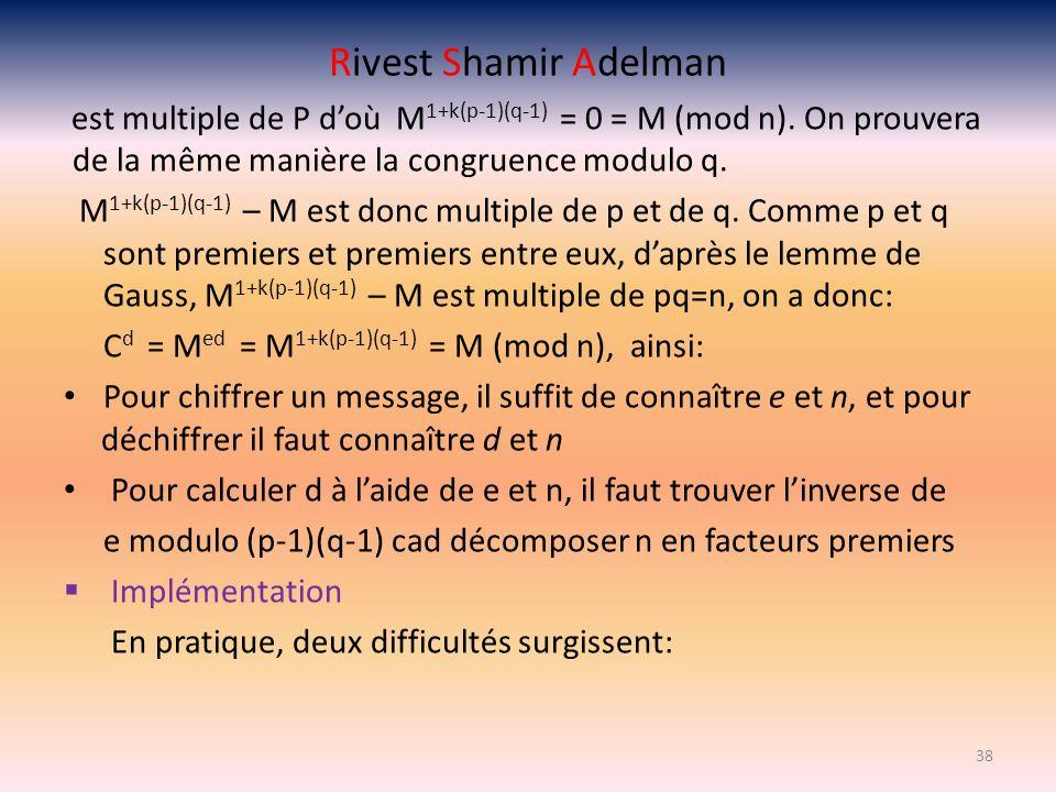 Rivest Shamir Adelman est multiple de P d'où M1+k(p-1)(q-1) = 0 = M (mod n). On prouvera de la même manière la congruence modulo q.