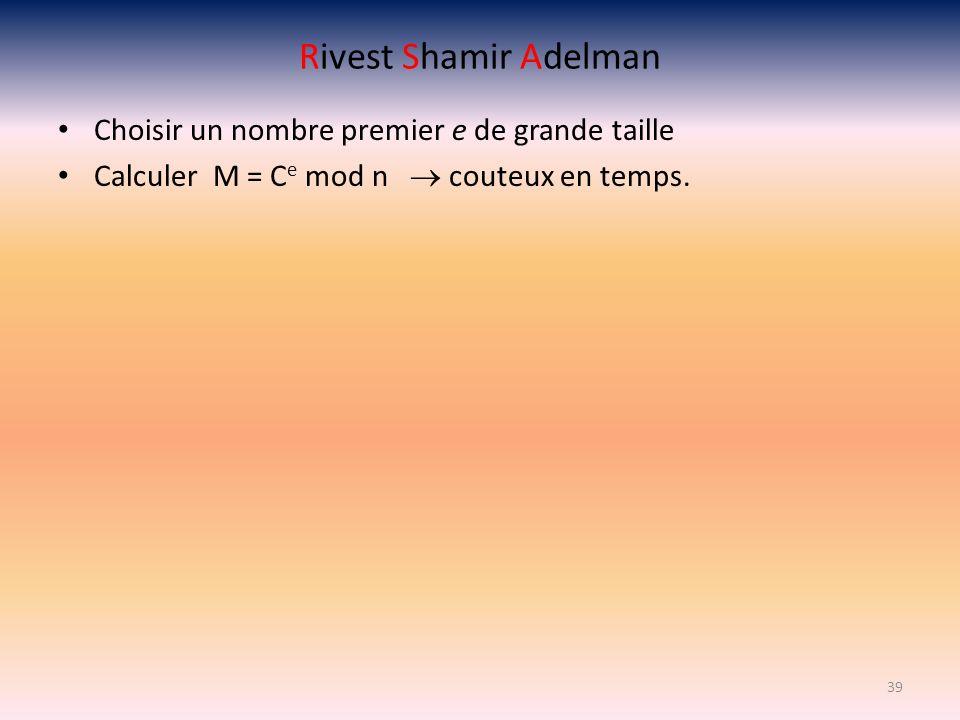 Rivest Shamir Adelman Choisir un nombre premier e de grande taille