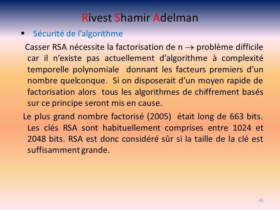 Rivest Shamir Adelman Sécurité de l'algorithme