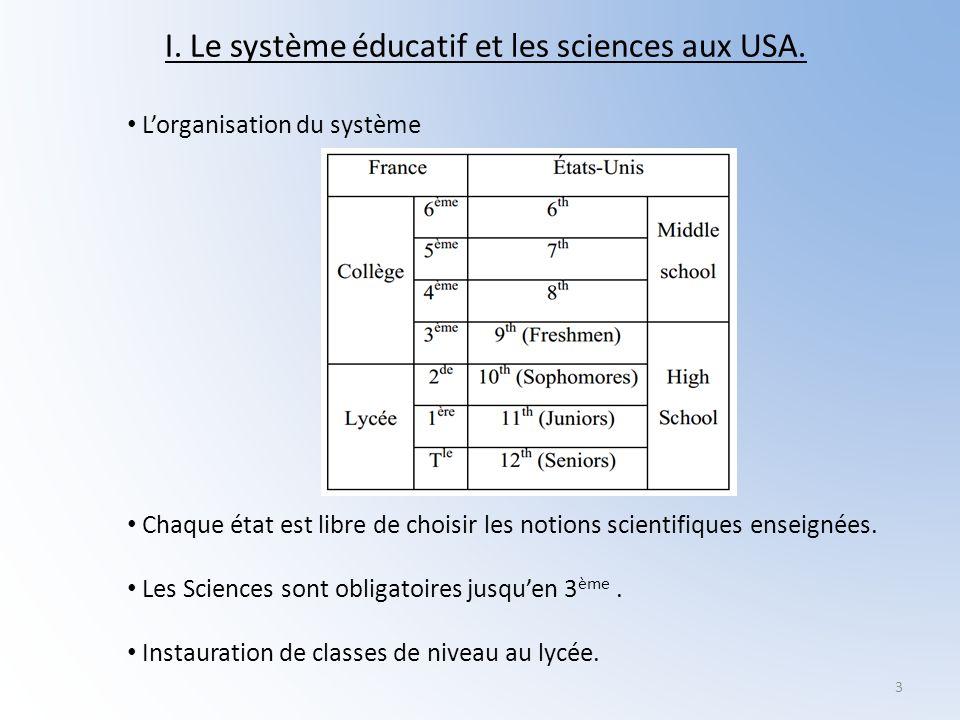I. Le système éducatif et les sciences aux USA.