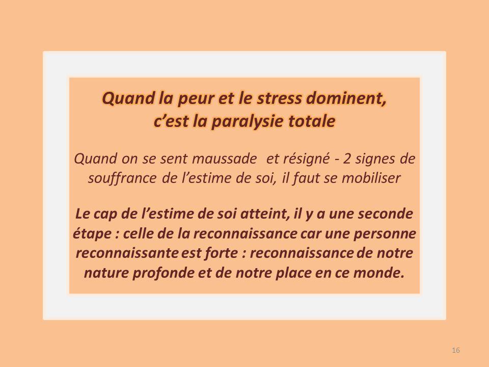 Quand la peur et le stress dominent, c'est la paralysie totale