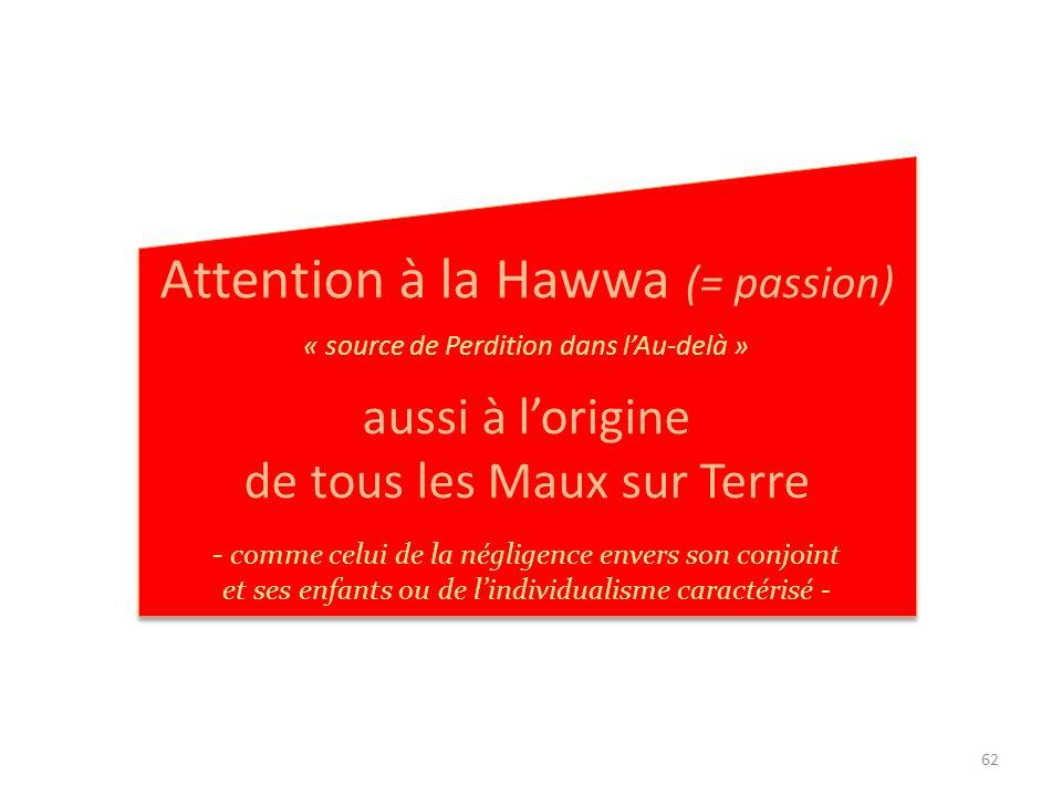Attention à la Hawwa (= passion)