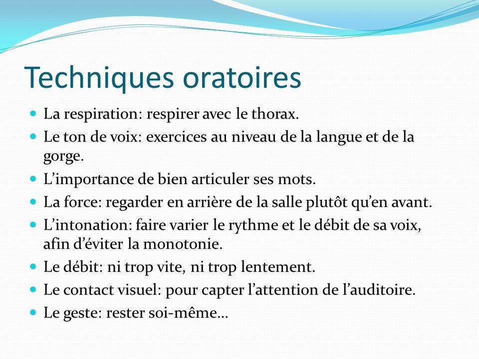 Techniques oratoires La respiration: respirer avec le thorax.