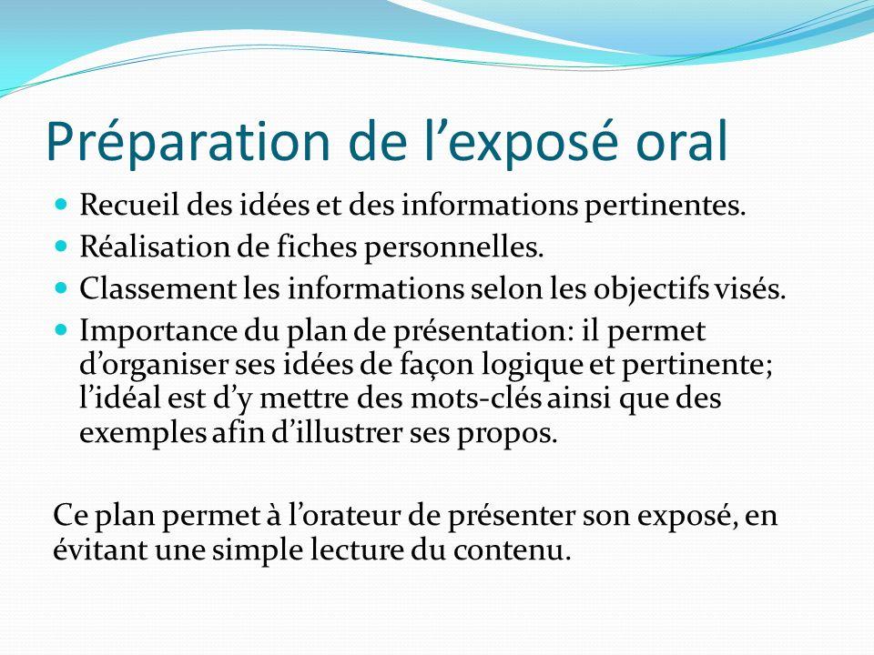 Préparation de l'exposé oral
