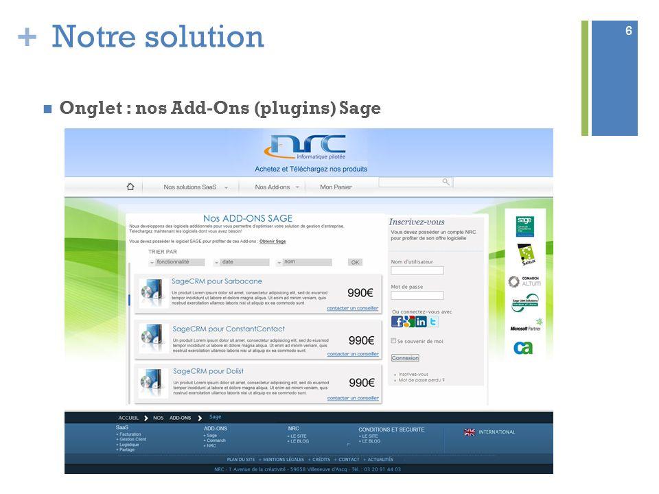 Notre solution Onglet : nos Add-Ons (plugins) Sage