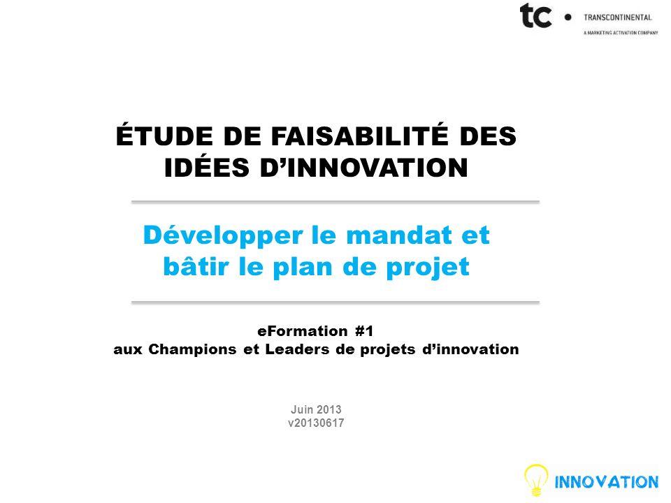 ÉTUDE DE FAISABILITÉ DES IDÉES D'INNOVATION Développer le mandat et bâtir le plan de projet eFormation #1 aux Champions et Leaders de projets d'innovation Juin 2013 v20130617