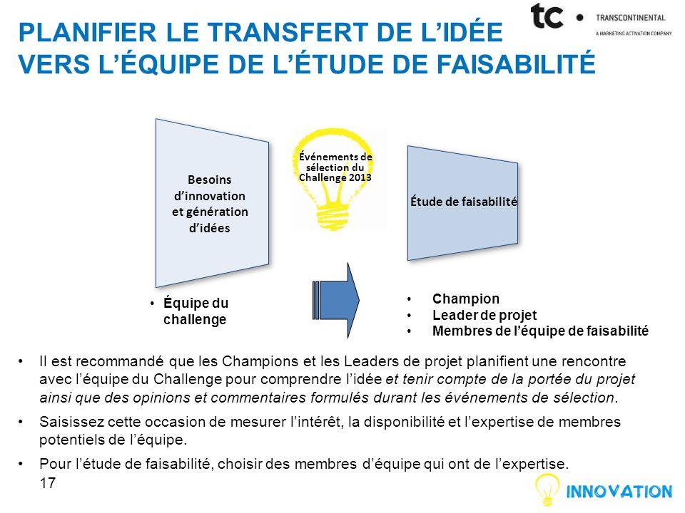 Planifier le Transfert de l'idée vers l'équipe de l'étude de Faisabilité