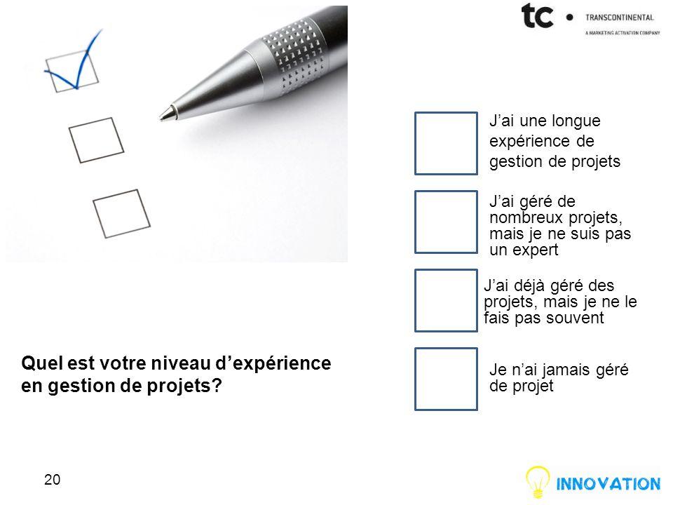 Quel est votre niveau d'expérience en gestion de projets