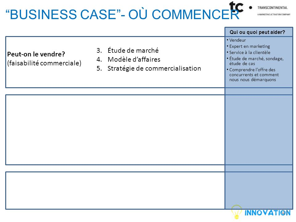BUSINESS CASE - OÙ COMMENCER
