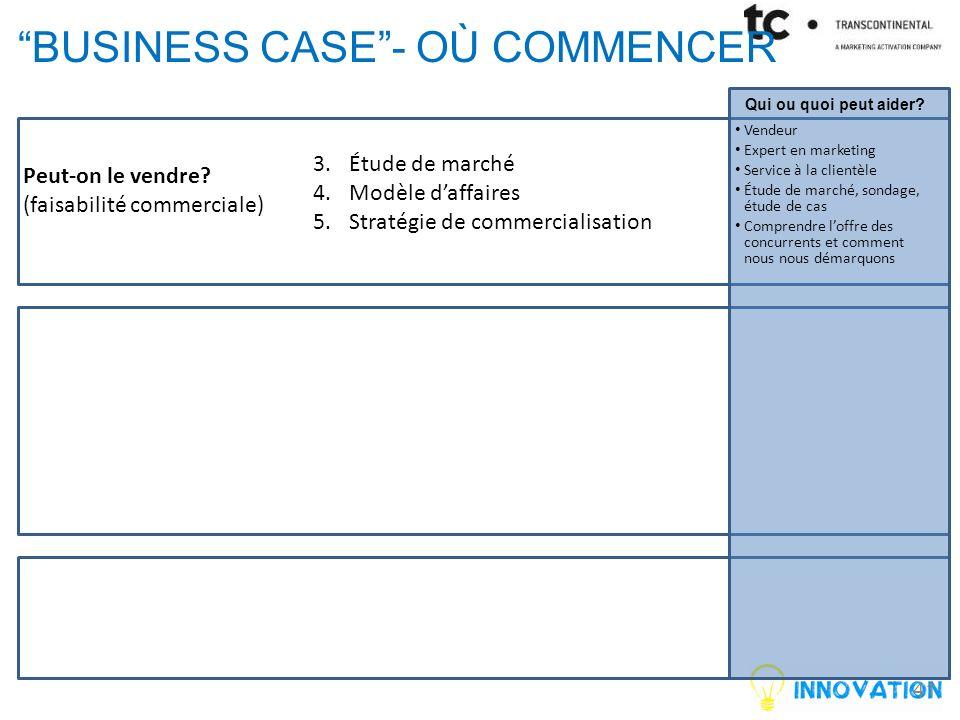 BUSINESS CASE - OÙ COMMENCER