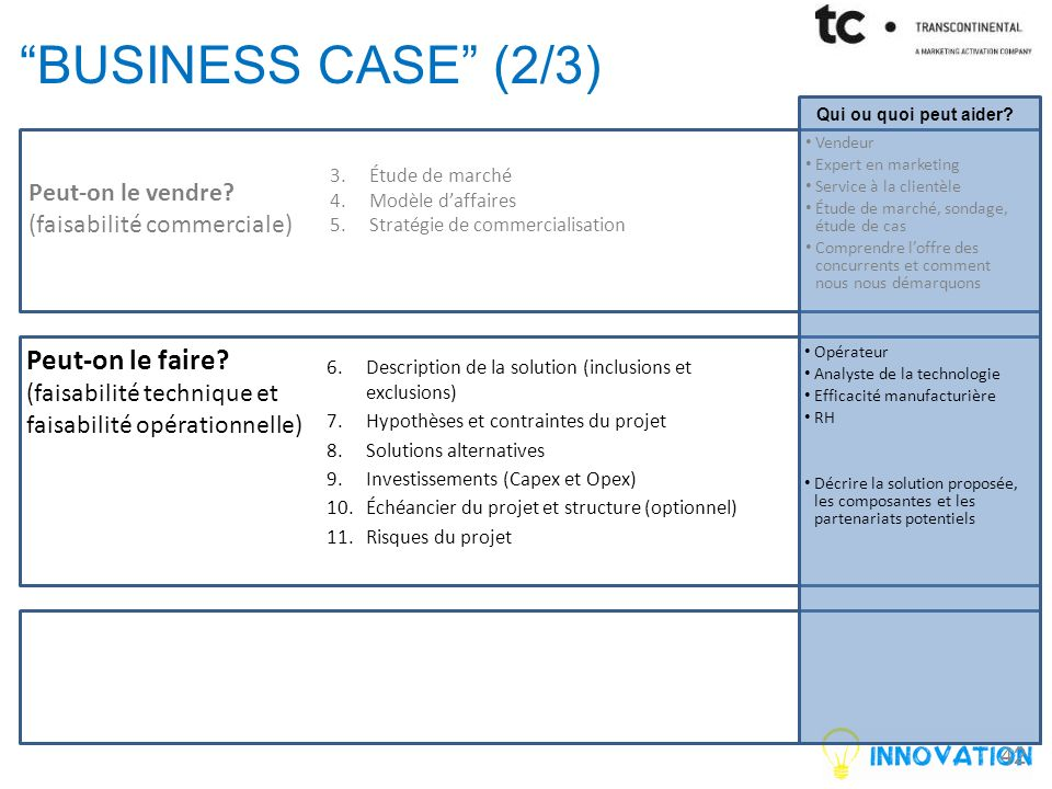 business case (2/3) Peut-on le faire Peut-on le vendre