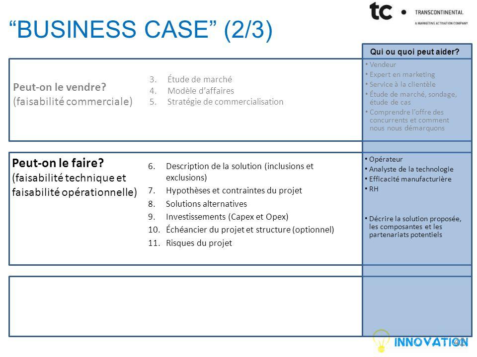 business case (2/3) Peut-on le faire Peut-on le vendre