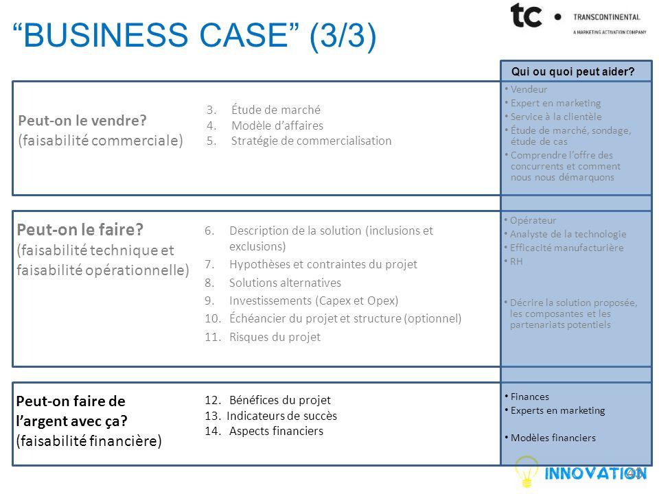 business case (3/3) Peut-on le faire Peut-on le vendre