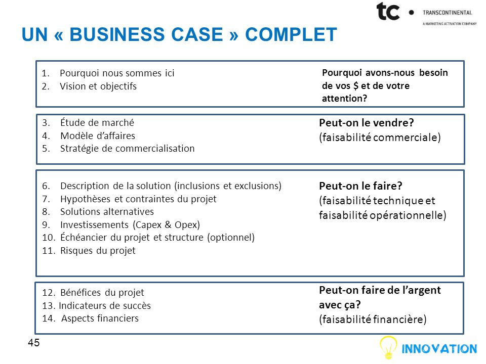 Un « business case » complet